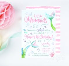 Watercolor Mermaid Invitations by JenTbyDesign on Etsy