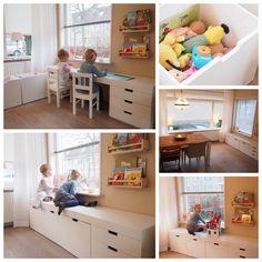 Multifunctioneel kindermeubel; speelgoed opbergruimte & kindertafel in één.