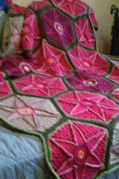 Soft Star Flower Afghan:  a designer original, and one of a kind afghan.