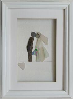 Pebble Art Picture Sea Glass Art Wedding Bride by CornishPebbleArt