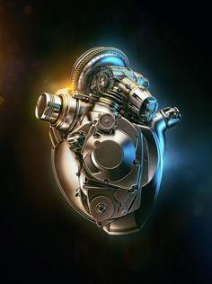 cyborg heart render Acura Heart by Aleksandr Kuskov. (via ArtStation - Acura Heart, Aleksandr Kuskov) Motor Tattoo, Cyberpunk, Mécanicien Automobile, Biomech Tattoo, Piston Tattoo, Engine Tattoo, Geniale Tattoos, Heart Tattoo Designs, Mechanical Engineering