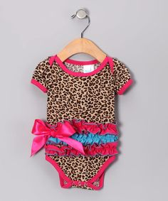 Take a look at this Pink & Blue Leopard Ruffle Bodysuit - Infant by Koko Bean on #zulily today!
