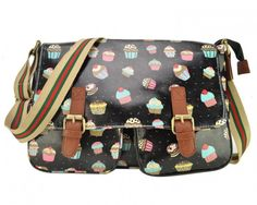 Black Oilcloth Messenger Handbags Fashion Oilcloth Printing Satchel Bag With Sweet Cakes