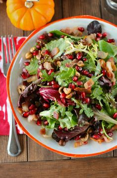 Pomegranate Hazelnut Thanksgiving Salad with Maple Bacon Dressing.
