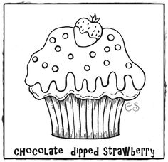 "iColor ""Cupcakes"" ~ Chocolate Dipped Strawberry Cupcake"