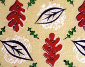 Fab 50s Foliage Barkcloth Fabric// Eames Era Style// Cotton Yardage// Upholstery Weight// Drapery