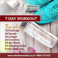 Crunches, Lunges, Squats, Slender Wonder, 7 Day Workout, Jumping Jacks, At Home Workouts, Exercise, Gym