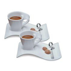 Villeroy & Boch Dinnerware, Set of 2 New Wave Caffe Espresso Cups and Saucers -Macy's Coffee Set, Espresso Cups, Cup And Saucer Set, Mugs Set, White Porcelain, Dinnerware, Tea Pots, Tableware, Kitchenware