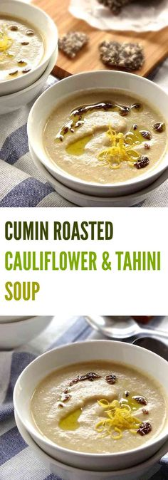 This CUMIN ROASTED CAULIFLOWER & TAHINI SOUP is velvety creamy with caramelised onions and hints of hummus | Plus Ate Six