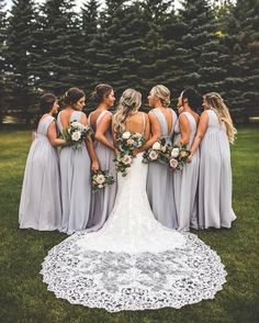 Dream Wedding: Bridesmaids wedding photo ideas -fall bridesmaid dresses and colors photos by Fall Bridesmaid Dresses, Wedding Dresses, Dresses Dresses, Bride And Bridesmaid Pictures, Gown Wedding, Bridemaid Photos, Wedding Events, Wedding Ceremony, Lilac Bridesmaid