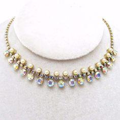 Rhinestone Pearl Choker Fringe Necklace Vintage Bridal Jewelry
