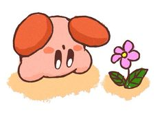 Upside-down Kirby and pink flower