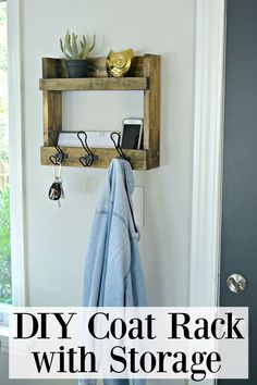 Easy DIY coat rack with 2 shelves to hang next to a back door for extra storage or in a small entryway. Multi-purpose use to hang coats, keys and store mail or a cell phone. #diycoatrack #entrywaycoatrack #rusticcoatrack #storageshelves