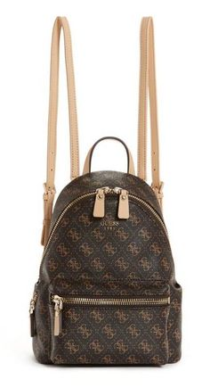 8183a3be38864 Guess Leeza Small Backpack | BROWN Luxe faux-leather bag with Quattro-G  print
