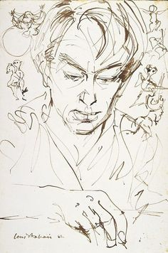 Louis Kahan drawing  Of John Perceval : 1962    Drawing:reed pen & brown ink