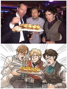 """""""That's what I see. Love them all!"""" - Killian Donnelly, Aaron Tveit, and Fra Fee"""