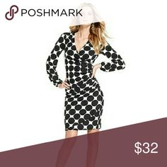 I.N.C B&W polka dot long sleeve dress V-neck polka dot dress fit great! Gives a beautiful hourglass figure! 92% Polyester, 8% spandex. INC International Concepts Dresses Long Sleeve