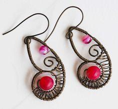 Ocean Conch Heart Fuchsia Beads Antique Bronze Wire Wrap Unique Woven Earrings