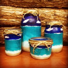 Something new I am adding to my shop... Themed sets of jars. The first is beach! Hand painted as all my jars are. Hope you like them! I have one available.