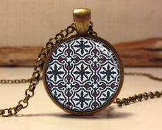Mediterranean ceramic tile design necklace. Ceramic tile art pendant jewelry