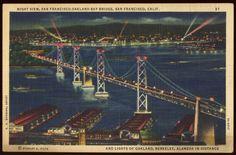 Vintage Night View San Francisco Oakland Bay Bridge Alameda California Postcard | eBay