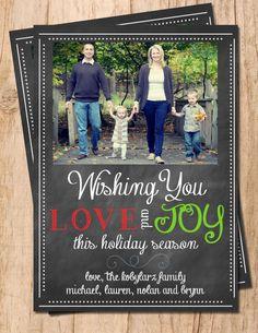 Chalkboard Love & Joy Digital Personalized Photo Christmas Card