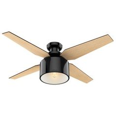 Hunter Fan Cranbrook 4 -Blade LED Flush Mount Ceiling Fan with Remote Control and Light Kit Included Motor Finish: Gloss Black Flush Mount Ceiling Fan, Ceiling Fan With Remote, Led Flush Mount, Led Ceiling, Ceiling Tiles, 52 Inch Ceiling Fan, Black Ceiling Fan, Hunter Ceiling Fans, Hunter Fans