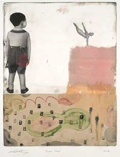Michael  Cutlip - Michael Cutlip at Seager Gray Gallery_ Swan Dive is a whimsical colorful monotype.