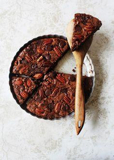 Polka Dotted Chocolate Pecan Brownie Tart with Chocolate Ganache