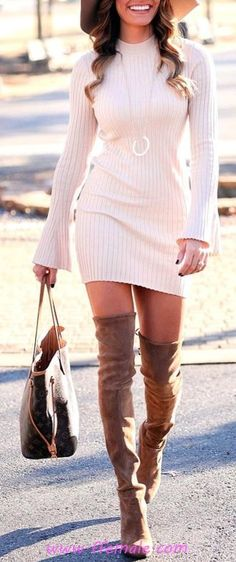 100 Top Fall Dresses / Graceful And So Perfect Outfit Idea Date Night Outfits, Casual Dress Outfits, Cute Fall Outfits, Fall Fashion Outfits, Fall Winter Outfits, Womens Fashion, Fall Fashion Boots, Perfect Fall Outfit, Dress Winter