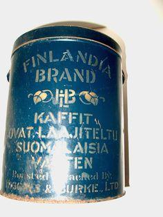 ANTIQUE HIGGINS & BURKE FINLANDIA BRAND COFFEE TIN
