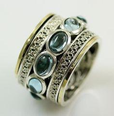 Blue Topaz Spinner Ring Silver Gold – Bluenoemi - My Jewelry