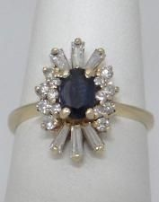 LADIES 14K YELLOW GOLD 1/2ct OVAL BLUE SAPPHIRE DIAMOND CLUSTER BALLERINA RING