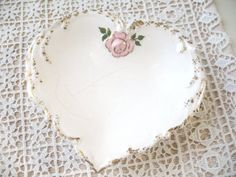 Vintage Hand Painted Heart Dish by Vintagegirlsfinds on Etsy