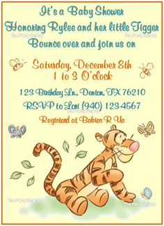 Winnie the Pooh  Tigger Baby Shower Invitation by ThePartySmarty, $10.00
