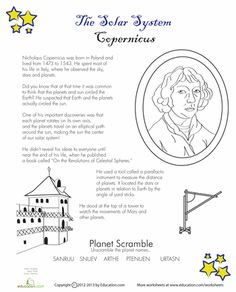 CC Cycle 2 - History Week 6 Worksheets: Copernicus for Kids Science Worksheets, Worksheets For Kids, Science Activities, Teaching Science, Life Science, Solar System For Kids, History Of Astronomy, Engineering Science, Elementary Science