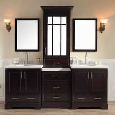Darby Home Co The easy answer to a master bathroom renovation, this vanity set makes storage more glamorous. Made from solid wood in an espresso finish, it features white stone countertops that come complete with a backsplash as well as two white ceramic under-mount sinks with pre-drilled holes for two faucets of your choice. Its base and mirrored cabinet feature plenty of full-extension drawers and cabinets for you to store toiletries and bathroom essentials, and are accented by satin nickel fi
