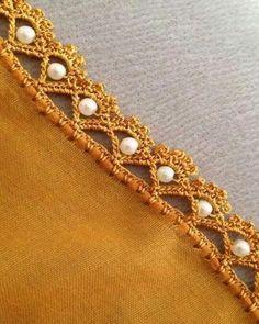 / crochet trim with pearls / Crochet Edging Patterns, Crochet Lace Edging, Crochet Borders, Lace Patterns, Crochet Trim, Baby Knitting Patterns, Crochet Designs, Saree Tassels Designs, Saree Kuchu Designs