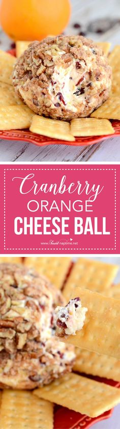 This Cranberry Orange Cheese Ball ...so simple and so delicious! With colorful cranberries in every bite, and a hint of fresh orange, it's a perfect holiday appetizer!