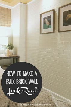 A brick accent wall adds so much character and texture to a boring room.  We made a DIY faux brick wall and with our tips you can make it look more real! This post covers how to install brick veneer panels to make a fake brick wall.  #howto #diy #brick #accentwall #budgetdecor #farmhouse #basement