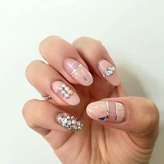 Pink & Sparkly Shattered Glass Nails