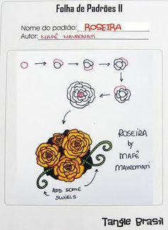 ROSEIRA  Passo a passo para desenhar ROSEIRA, meu novo padrão.  http://tanglebrasil.blogspot.com/search?updated-max=2011-04-27T12:07:00-07:00=7=21=false#axzz1poBR0qCF  How to draw ROSEIRA, my new tangle pattern.