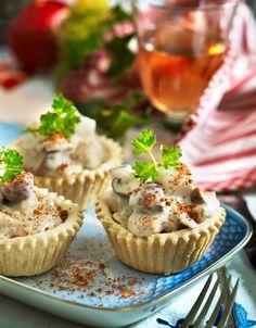 Tarteletter med kylling og champignon