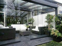 Contemporary Sunroom converts to patio! Outdoor Rooms, Outdoor Gardens, Outdoor Living, Outdoor Decor, Patio Design, Garden Design, House Design, Backyard Patio, Backyard Landscaping