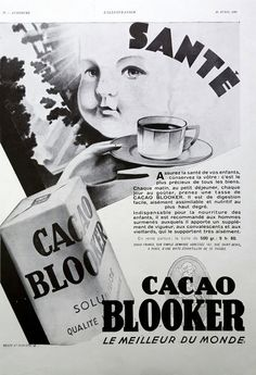 Cacao Blooker Vintage Ad French poster, original art deco advertising, vintage cacao ad, old magazine retro illustration print for framing by OldMag on Etsy