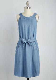 Masterful Mingling Dress. By navigating the networking event in this chambray dress working the room wont feel like work at all! #blue #modcloth