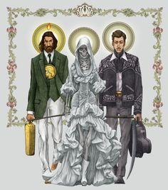 Titulo: la santísima Trinca -San Juditas Tadeo: abogado de las causas imposibles -La santa muerte: La Niña Blanca -Jesús Malverde: Santo Narco