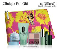 Choose violet or pink (shown) Clinique gift at Dillards. Yours with $27 purchase. Free. clinique-bonus.com/dillards/