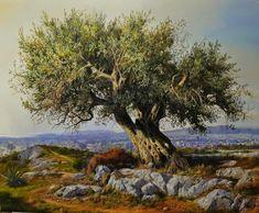 Landscape Painting - Olive Tree 5 by Elidon Hoxha Watercolor Landscape, Landscape Art, Landscape Paintings, Cool Paintings, Original Paintings, Tree Paintings, Weird Trees, Winter Painting, Old Trees