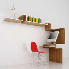 The K Workstation is made of bamboo laminated plywood that is folded into a curved shape to create both a shelving and a desk space all in one. Description from hipsubscription.com. I searched for this on bing.com/images